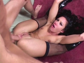 Taylor Rain in fishnets and boots getting an anal power drilling in multiple positions before sucking his cock clean